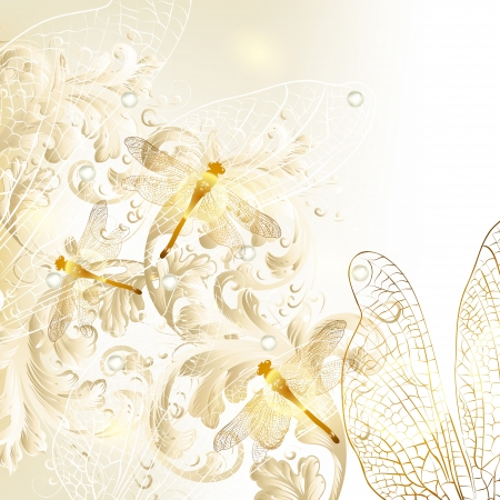 dragonfly wings: Cute wedding background with ornament and dragonfly