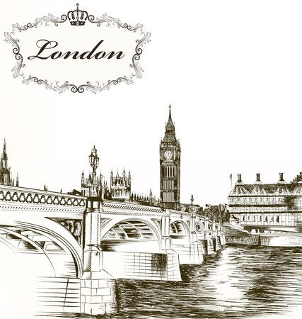 inglaterra: Cart�o art�stica com cena de Londres para seu projeto Ilustra��o