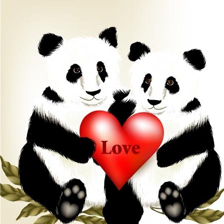 cartoon panda: Family of fall in love panda bear with red heart
