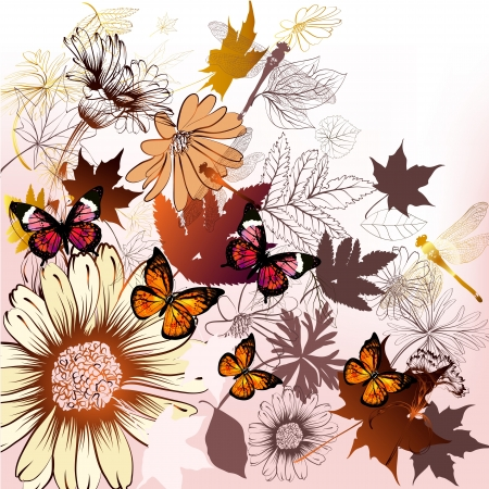 Elegant hand drawn vector background with flowers, leafs and butterflies  Vector