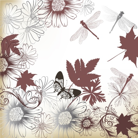 Elegant hand drawn vector background with flowers, leafs and butterflies  Stock Vector - 18990166