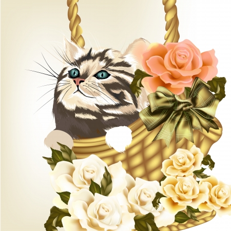 Cute valentine greeting card with little kitty and roses Vector