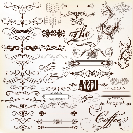 antique frame: Vector set of calligraphic elements for design  Calligraphic vector