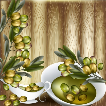 Vector background with olives branches and olive oil for design Vector