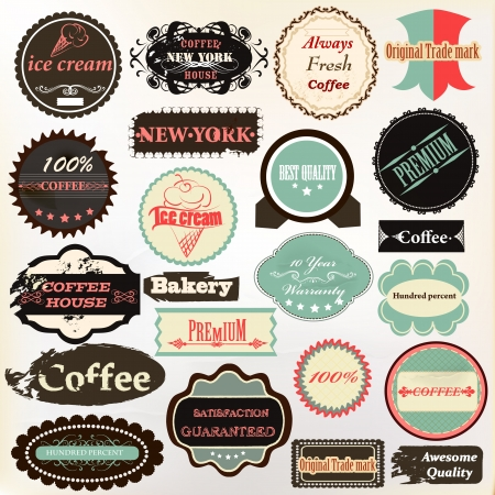 premium quality: Vector set of vintage labels for cafe and coffee house design