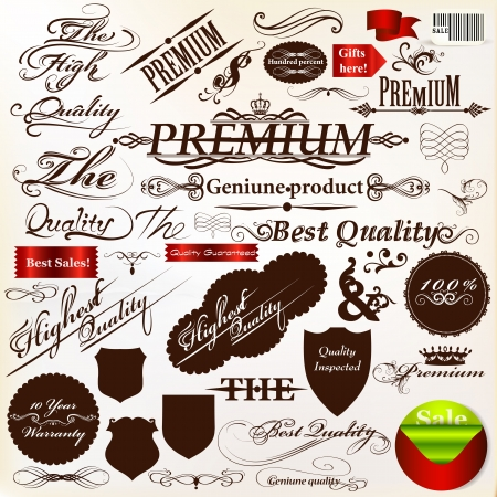 Collection of ribbons, labels premium, best and original quality in retro style Vector