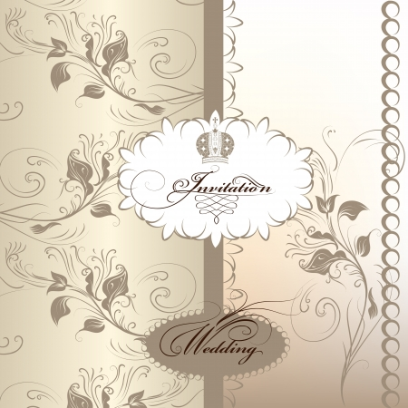 Vector hand drawn  wedding invitation design in classic floral style  Vector