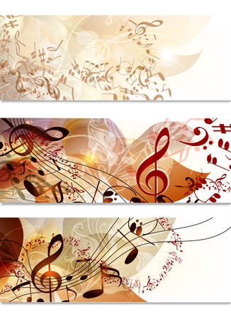 Vector set of  music background with leafs, ornament and notes Vector