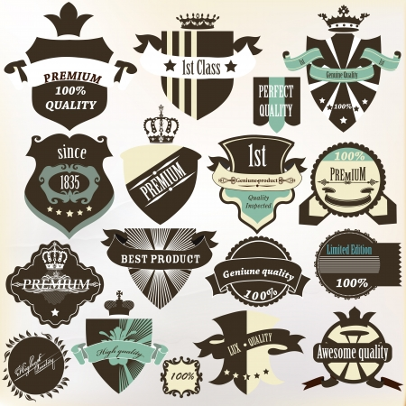 set of vintage labels premium, best, high and genuine quality for design Vector