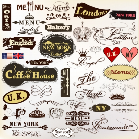 Vector set of vintage labels for cafe and coffee house design