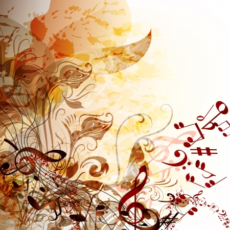 musical ornament: Creative music background with notes for design Illustration