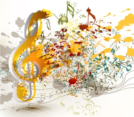 Cute abstract music background with notes and staves for your design Vector