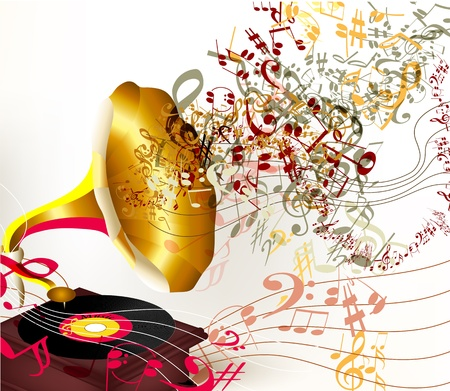 gramophone: Creative vector background with old gramophone and notes on white