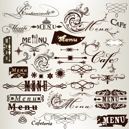 ornamental scroll: Vector set of calligraphic elements for design  Calligraphic vector