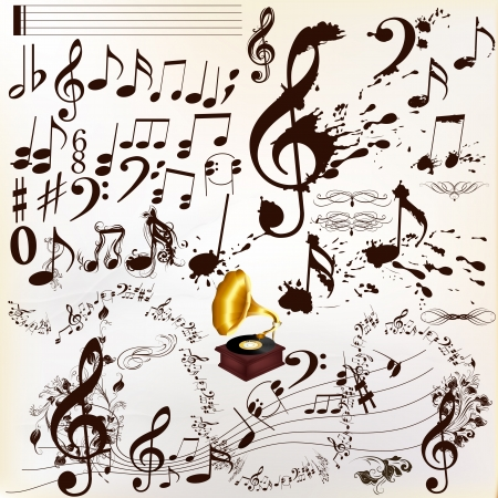 vintage scrolls: Vector set of music elements for design  Calligraphic vector Illustration