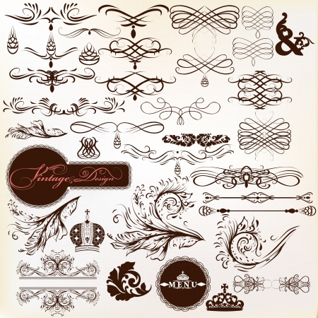 Vector set of calligraphic elements for design  Calligraphic vector Stock Vector - 19373377