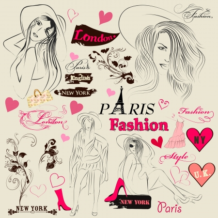 Vector set of sketch with young fashion girls for design Illustration