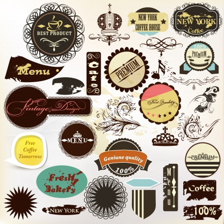 vintage cafe: Vector set of vintage labels for cafe and coffee house design