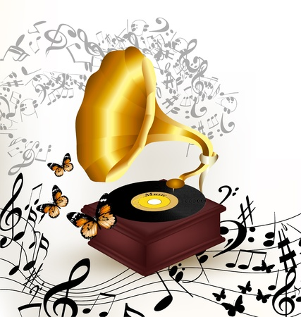 Creative vector background with old gramophone and notes on white Vector