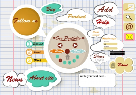 copybook: vector webpage design on school copybook sheet Illustration