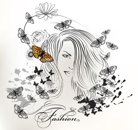 donna farfalla: Vector ritratto di giovane e bella ragazza con lunghi sentire e farfalle che volano