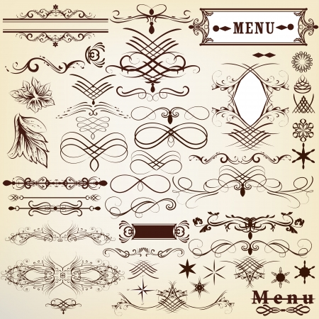 Vector set of calligraphic elements for design  Calligraphic vector Stock Vector - 19559935