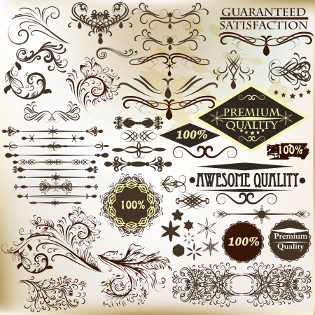 Vector set of calligraphic elements for design  Calligraphic vector Stock Vector - 19559953