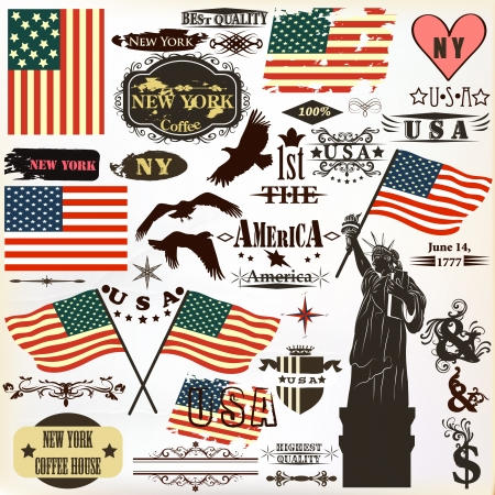 Vector set of vintage elements United States symbols for independence day design  Vector