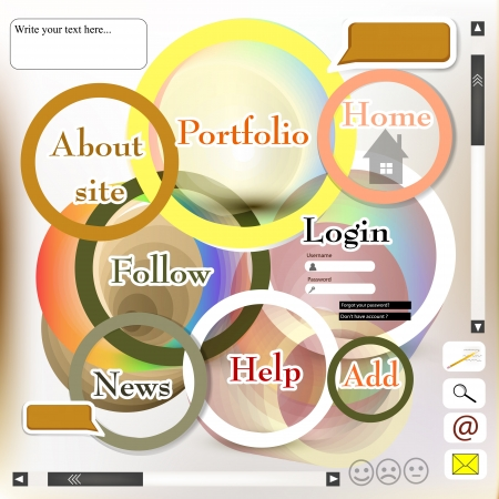 Web page design with selectable menu and other elements in modern and futuristic style Stock Vector - 19559948