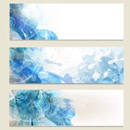 grafica: Vector conjunto de fondos azules abstractos de dise�o