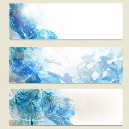 Vector set of abstract blue  backgrounds for design