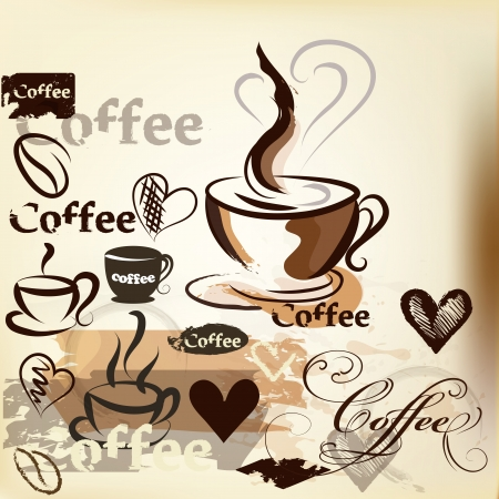 Coffee  vector background with hand drawn cups, signatures and hearts for design Stock Vector - 19559966