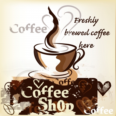 Coffee  vector poster  with hand drawn cups, signatures and hearts for design Stock Vector - 19559969
