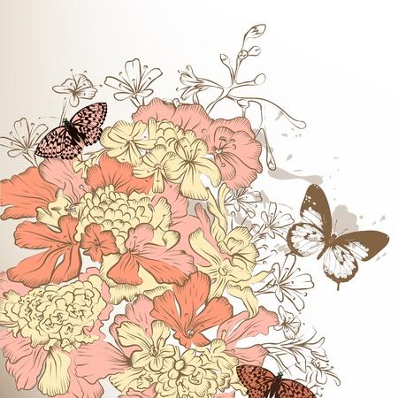 stylized design: Disegno stilizzato Vintage con fiori disegnati a mano