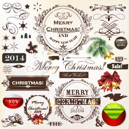 Decorative elements for elegant Christmas design  Calligraphic vector