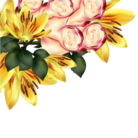 Vector yellow orange lily with pink beige roses isolated on white for design Vector