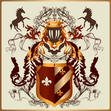 heraldic illustration in vintage style with shield, armor, crown and swirl ornament for design  Çizim