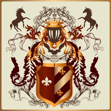 chevalerie: illustration h�raldique dans le style vintage avec bouclier, armure, couronne et ornement de remous pour la conception Illustration