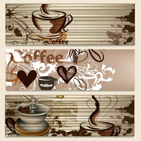 Broszury kawy zestaw z ręcznie rysowane kubki, podpisów i serca do projektowania Ilustracje wektorowe