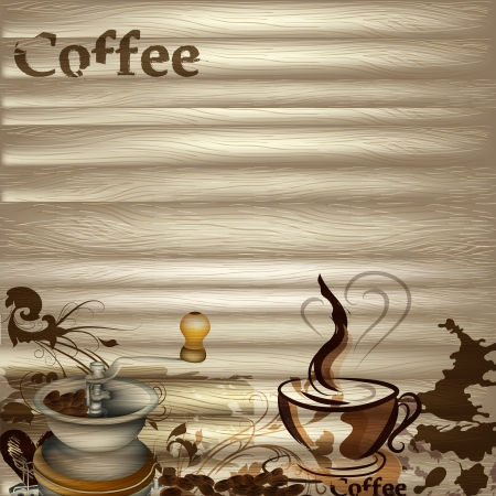 Coffee  vector background with hand drawn cups, signatures and hearts for design Stock Vector - 19978973