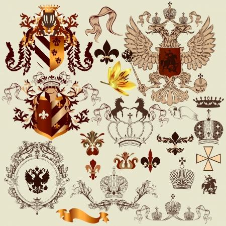 chevalerie: ensemble d'�l�ments royal vintage de luxe pour votre conception h�raldique Illustration