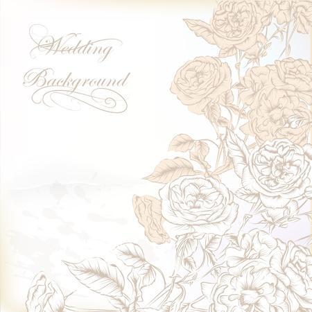 Vector Hand Drawn Wedding Invitation Design In Classic Floral ...