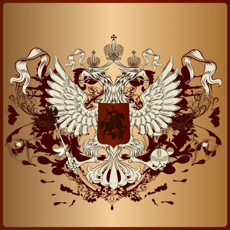 heraldic illustration in vintage style with shield, eagle, crown and swirl ornament for design Vector