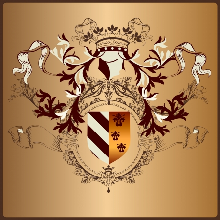 nobel: heraldic illustration in vintage style with shield, armor, crown and swirl ornament for design