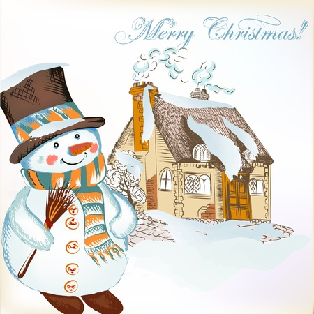 toy house: Christmas vector hand drawn card in sketch style with snowman and cute house
