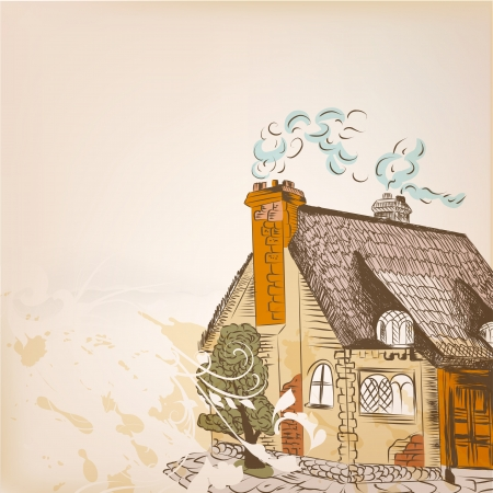english village: design with little hand drawn house in English style