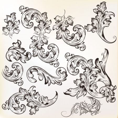 set of swirl vintage ornaments for design Stock Vector - 20230289