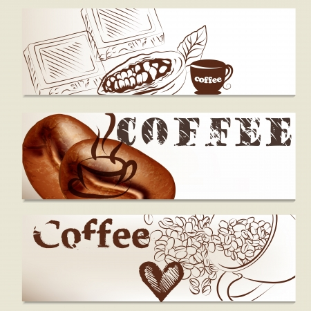 Coffee  vector brochures set with hand drawn cups, grains and chocolate s for design Stock Vector - 20407044