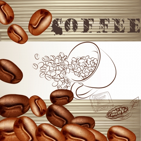 Coffee  vector  background with frosted coffee grains on a white Stock Vector - 20407038