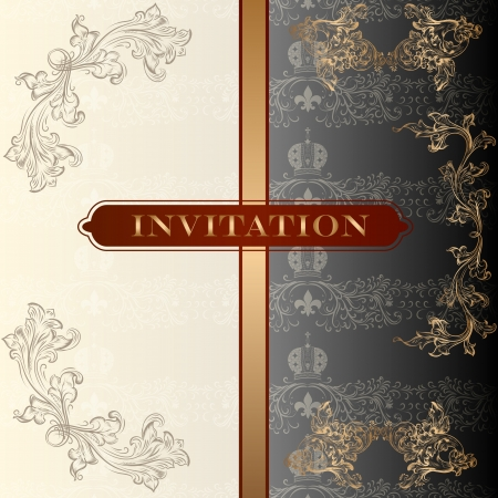 land shell: Elegant classic wedding invitation or menu  Retro vector Illustration